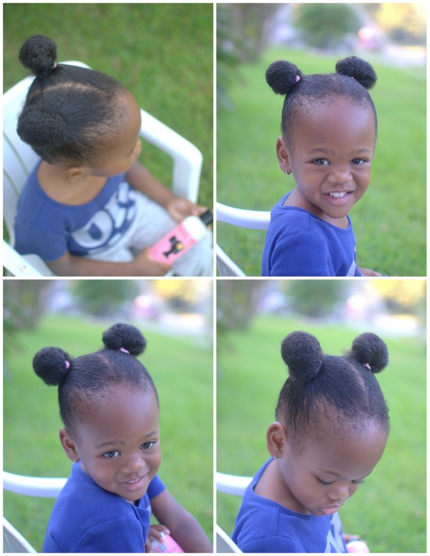 Little girl with afro buns