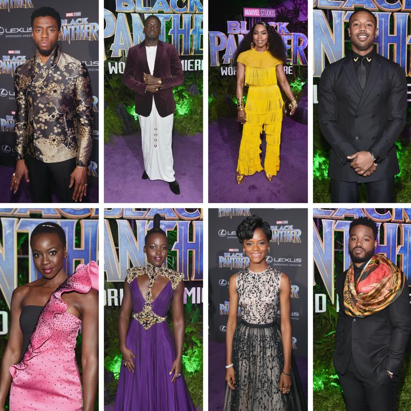 Black Panther purple actors purple carpet